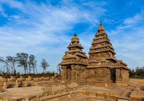 Famous Tamil Nadu landmark – Shore temple, world heritage site in Mahabalipuram, Tamil Nadu, India