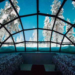 Kakslauttanen glass igloo inside