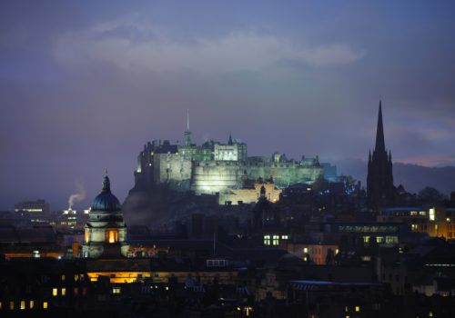 Edinburgh Castle at dusk in winter from the East.