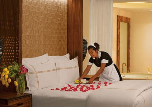 Romantic turndown service at Secrets Akumal