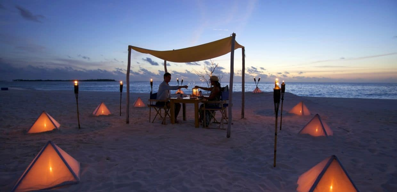 Six Senses Laamu sandbank dining
