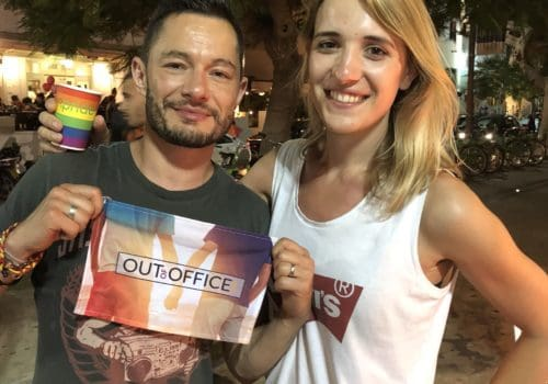 Transgender couple Jake Graf and Hannah Winterbourne in Tel Aviv