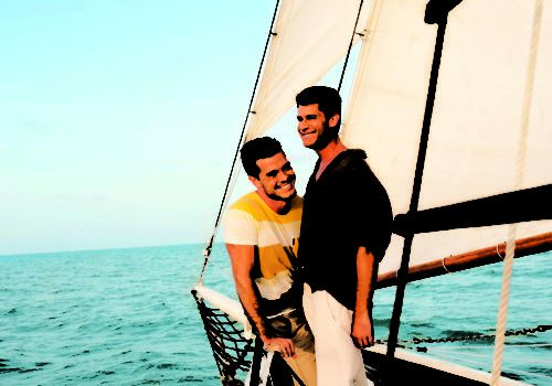 Gay couple sailing in Key West