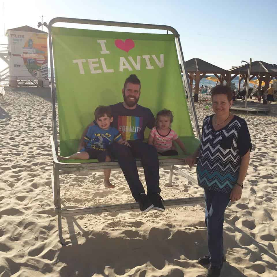 Gay blogger Perez Hilton and his family in Tel Aviv