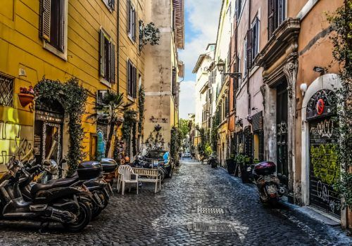 Rome streets with Vespa
