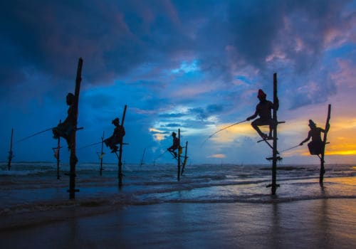 Fishermen on stilts in Sri Lanka